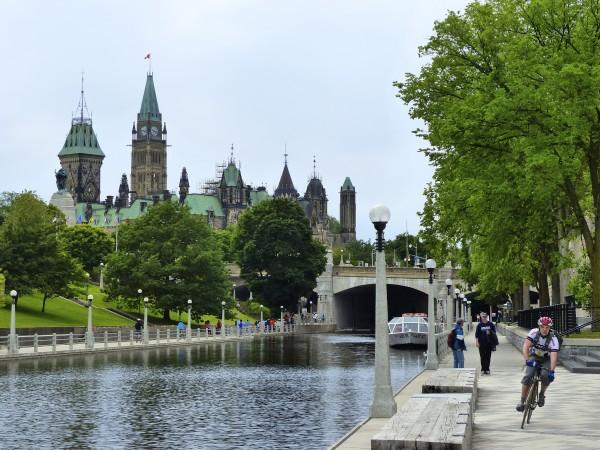 Biking along the Rideau Canal in Ottawa