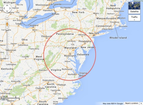 Map-3 Hour Radius
