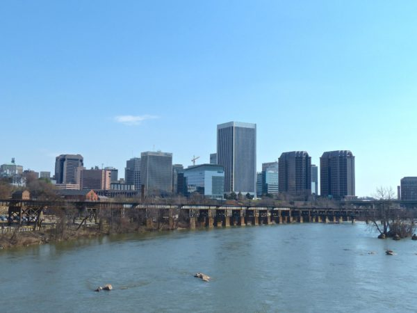 Downtown Richmond skyline view from Belle Isle Ped Bridge