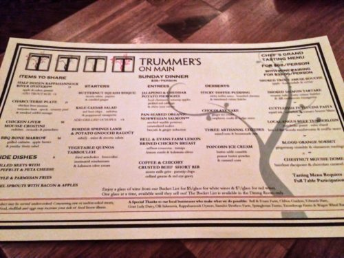 Clifton Virginia-- Trummers on Main- Sunday menu