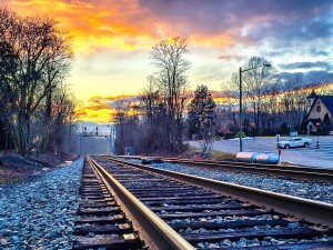Clifton Virginia-- sunset on the train tracks