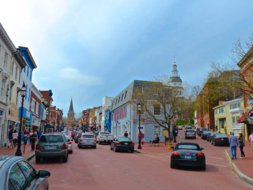 Main Street and Francis Street converge in historic Annapolis