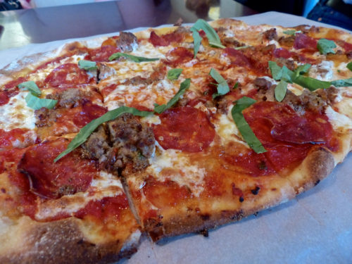 Vin 909's Spotted Pig pizza with spicy soppressata and wild boar meatballs